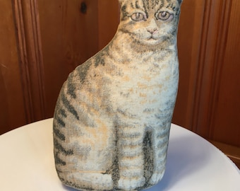 Cat Stuffed Animal, vintage printed