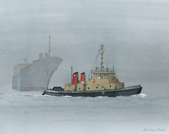 tugboat on a foggy day