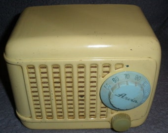 Arvin #243T Metal Yellow Tube Radio