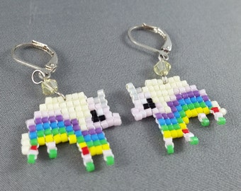 Lady Rainicorn Earrings - Pixel Earrings Rainbow Earrings Pixel Jewelry Adventure Time Earrings Seed Bead Earrings Nerdy Earrings Nerdy Gift