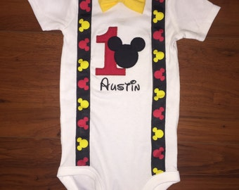 Mickey Mouse Birthday Onesie/Shirt with Suspenders & Bowtie