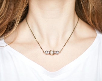 Small Cream and Gray Pearl Antique Brass Bar Necklace (Short)