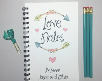Love Notes, Journal, Bullet Journal, Notebook, Spiral Journal, Spiral Notebook, Personalized, Couple Gift, Thoughtful, Romantic, Boyfriend