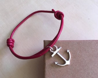 Leather fushia String Bracelet