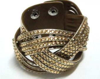 Gold Leather & Crystal Cuff Bracelet BR3001i