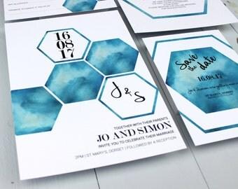 Watercolour Wedding Invitation Suite, Geometric Hexagon Wedding Invite, Blue Wedding Invitation Suite