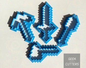 Minecraft Tools Set Cookie Cutters (Pickaxe, Axe, Saber, Sword) - *Dishwasher safe option*