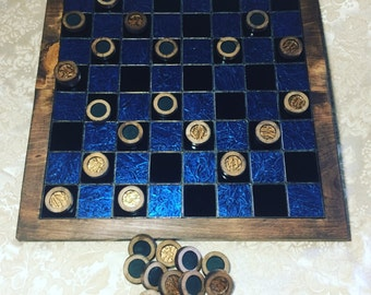 Custom Stained Glass and Wood Checkers Board Game