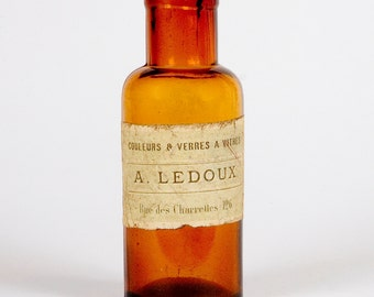 French Amber Glass Apothecary Bottle - A. LEDOUX