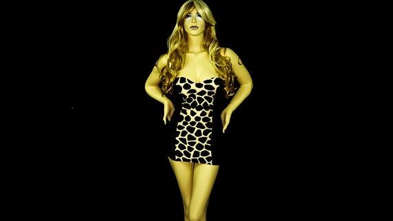 New Exotic Dancewear Stripper slimming Printed Short Dress.