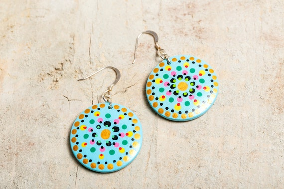 Painted wood - gold - black - green - Silver 925 Creole earrings