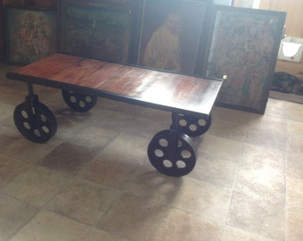 Industrial style wheeled coffee table