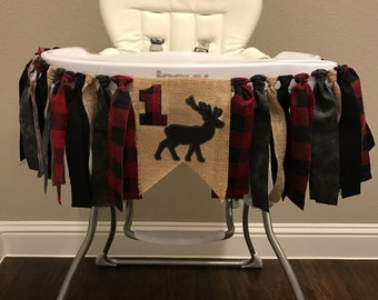 Lumberjack High Chair Birthday Banner