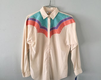1980's Sunny South roper-esque long sleeved button up