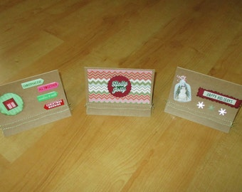 Handmade, Merry Christmas, Happy Holidays, Christmas card set, Blank card set with envelopes