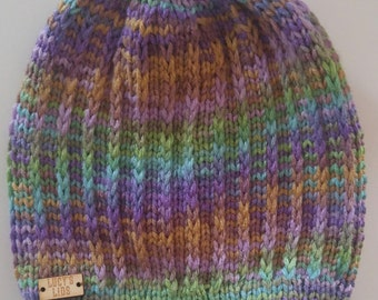 Hand-knit Textured Hat