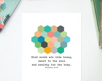 Kind Words and Honeycomb, Scripture Printable, Instant Download
