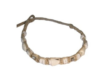 Hawaiian Shell Handmade Hemp Puka Shell Bracelet / Anklet from Maui, Hawaii