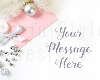 Christmas Styled Stock Photography, Pink & Silver Styled Desktop, White Desk, Vintage Style Stock image, Stock Photo, Holiday Mockup 148