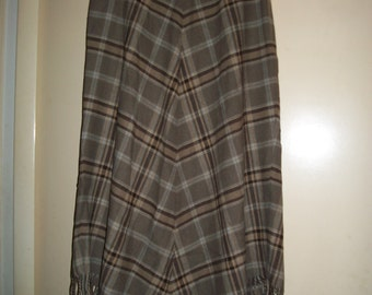 Vintage Taupe/Brown Wool Blend Plaid Lined A-line Skirt with Fringe size 10
