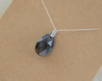 Sterling Silver Graphite Pear (Swarovski) Crystal Necklace