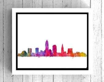 Cleveland Ohio Watercolor Art - Cleveland poster art, Cleveland skyline, Cleveland cityscape, OH wall art, OH art print, OH poster art