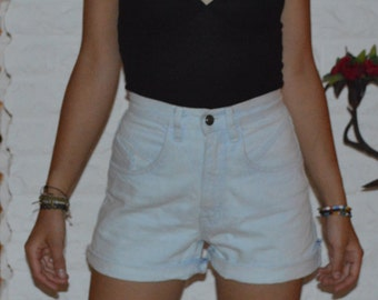 VINTAGE 90's/ Light Blue Denim Shorts/ High waisted/ RIO Jean Shorts/ Cut off jeans/ Size XS