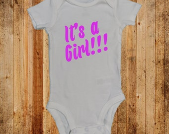 Baby Announcement Its a GIRL One Piece Snap Bodysuit  (NB - 24 months)