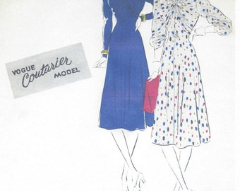 1940s WW2 Vintage VOGUE Sewing Pattern B34 DRESS (1119) Vogue 237