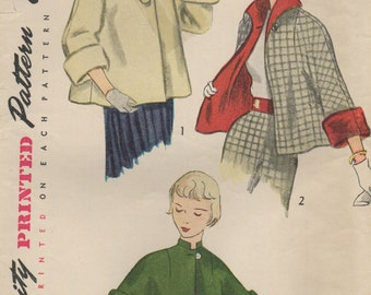 1950 Vintage Sewing Pattern B30 TOPPER JACKET (1294) Simplicity 3463