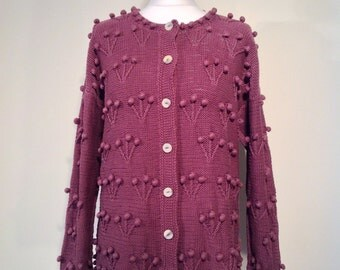 Woman boho retro style cardigan purple knitwear