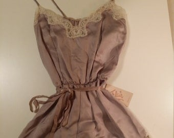 Vintage Flair Lingerie Romper Onsie w/ Matching Belt, New-Old-Stock , Tags Attached, Mauve , Lilac,
