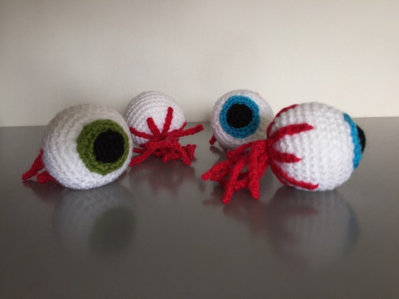 Set of 4 handmade Halloween decorative crochet eyeballs green and blue