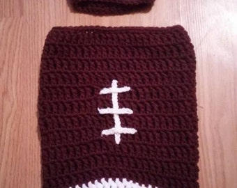 Crochet Football Cocoon/newborn/photography prop