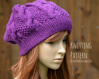 Knitting Pattern PDF Instant Digital Download Womens Oversized Slouchy Cable Hat Knit It Yourself KPWS11