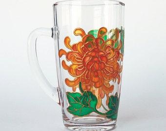 Chrysanthemum Mug, Flowers Mug, Coffee Mug, Tea Mug, Hand Painted Glass Mug, Gift for Her, Gift for Him, Gift for Mom