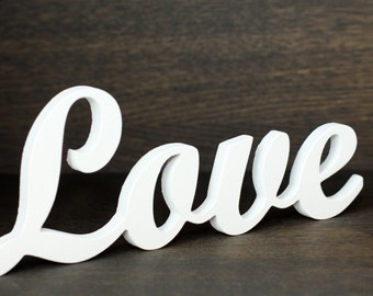 Free standing wooden white Love sign. Wedding decor. Wall decor. Gift. Wall hanging. Wooden letters. Wooden word.