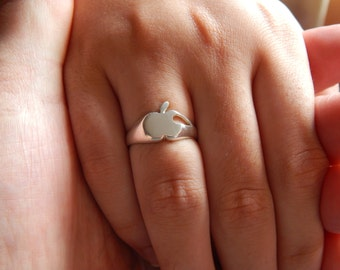 apple logo design 925 silver ring