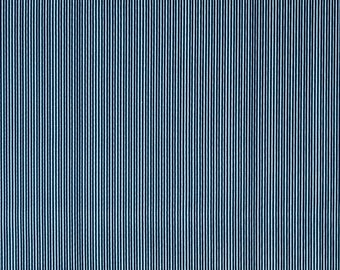 Blue Stripe Fabric - Riley Blake Parade on Main Fabric - Navy Blue and Light Blue Fabric
