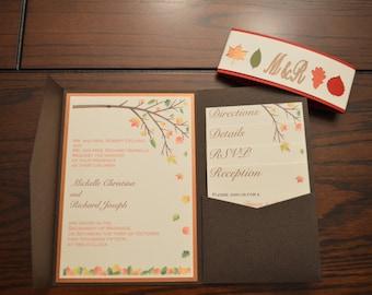 Fall Tree Leaves Wedding Pocket Invitation Set SAMPLE or DEPOSIT for custom invites