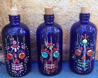 Cobalt Blue Glass- Vintage style bottles- Day of the Dead-Home Decor- Glass Art