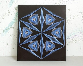 CRYSTAL - symbol of eternity, string art, mandala, zen, sacred geometry, wall art, pictures, home decor, wall decor, nail art, wall hanging