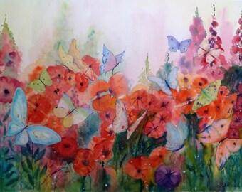 Original Watercolor Painting Garden  with Butterflies, Home Decor fine art wall art