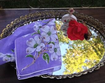 Vintage Lavender Floral Hankie