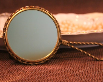Small Vintage Brass Two-sided Mirror with Magnification - A Perfect Travel Mirror
