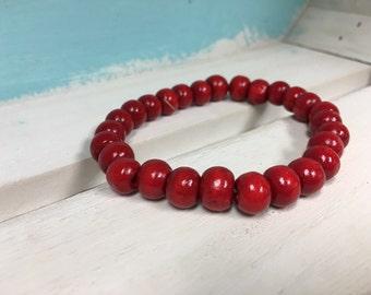 Red Wooden Bead Bracelet