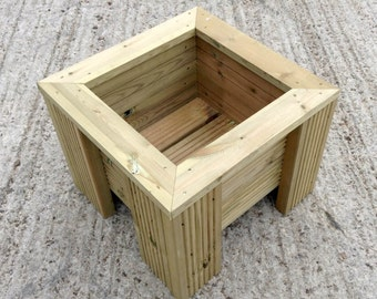 Premium Decking Wooden Garden Planter - Wood Trough Handmade Square Plant Box