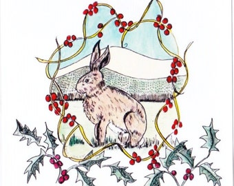 Christmas Hare and Garway Hill, square greetings card, left blank for your own message.