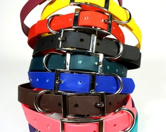 "3/4"" Leather-like DoggleHead Collar (Small to Medium Dogs 10""-22"" Neck) Stinkproof + Waterproof"