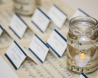 Small Vintage Sheet Music Mason Jar